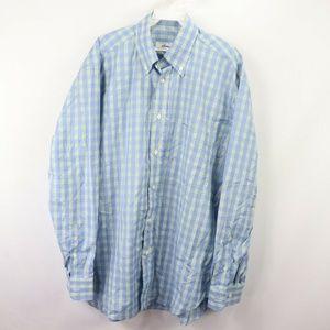 Brioni Plaid Long Sleeve Dress Shirt Blue Large